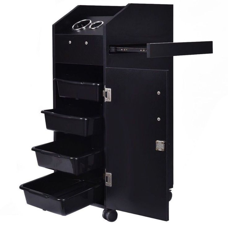 Black Wood Locking Styling Station 4 Drawer Trolley Cart Salon Equipment Wheel   #BlackWoodLocking