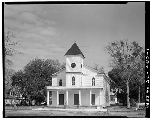 1.  GENERAL VIEW AND WEST (FRONT) ELEVATION - First African Baptist Church (circa 1865), 601 New Street, Beaufort, Beaufort County, SC