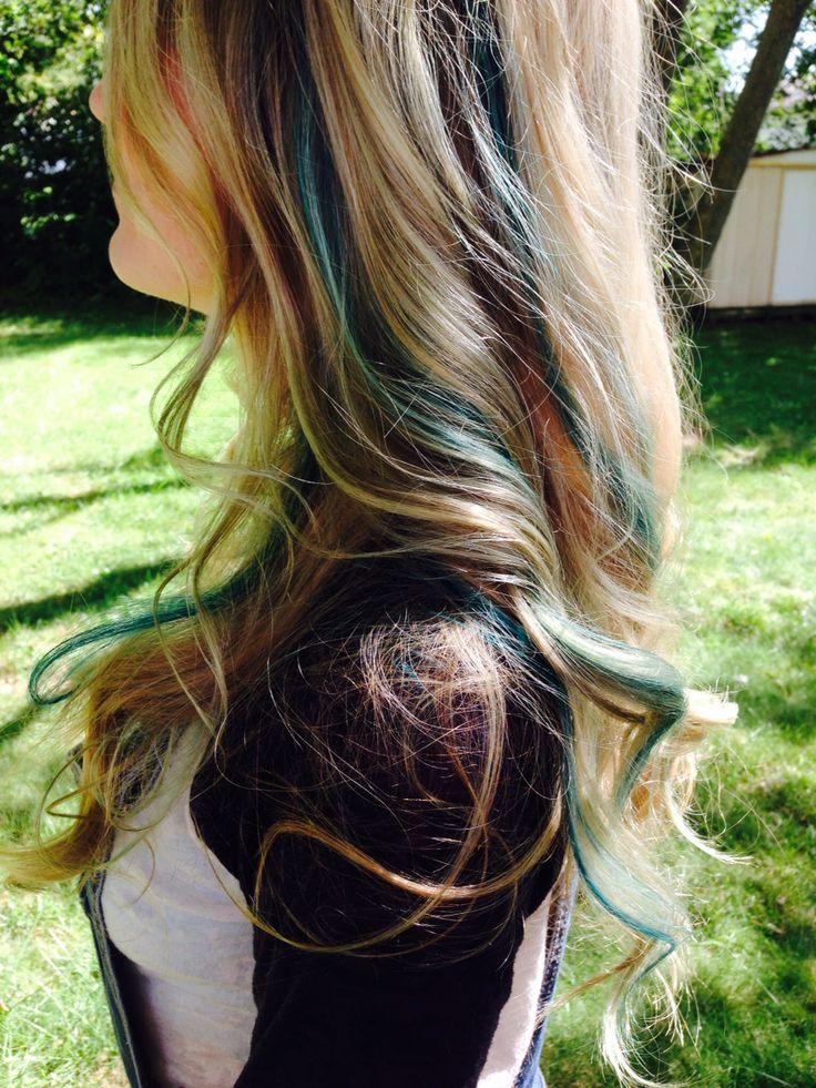 Long Blonde Wavy Hair With Blue Teal Green Mermaid
