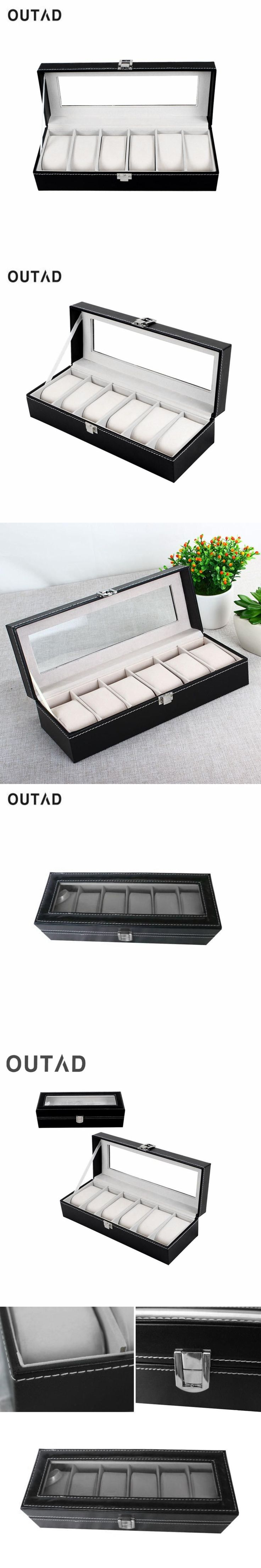 OUTAD Leather Watch Box Classic 6 Grids Luxury Refinement Slots Boxes Gift Case Jewelry Display Storage Holder Winder Organizer #luxuryjewelrydisplay