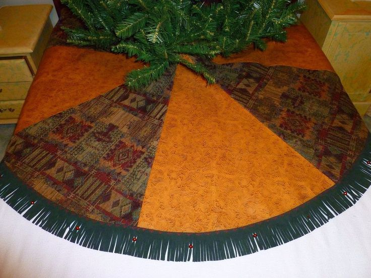 Handmade Christmas Tree Skirt Southwestern Tooled Faux Leather Chenille & Suede #Handmade