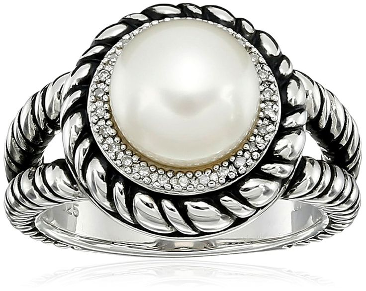 Sterling Silver 9-9.5mm Button Chinese Freshwater Cultured Pearl and Diamond Rope Ring, Size 7 ** Read more reviews of the product by visiting the link on the image.