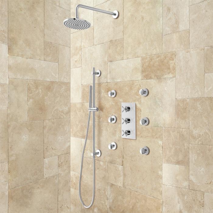 Exira Pressure Balance Shower System Hand Sprayer Amp 6 Body Jets Chrome Bathroom Ideas