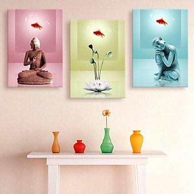 opgespannen doek kunst boeddha en lotus decoratie set van 3 - EUR € 57.74