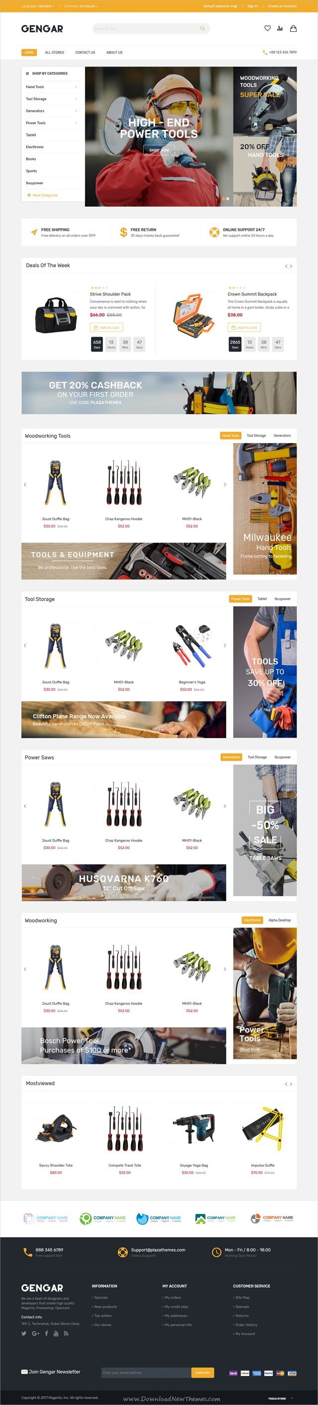 Gengar is clean and modern design 6in1 responsive #Magento theme for stunning #tools shopping #eCommerce website download now..