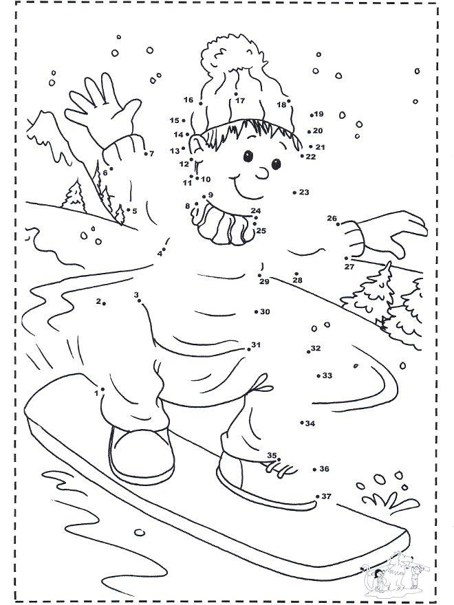 Cijfertekening snowboard