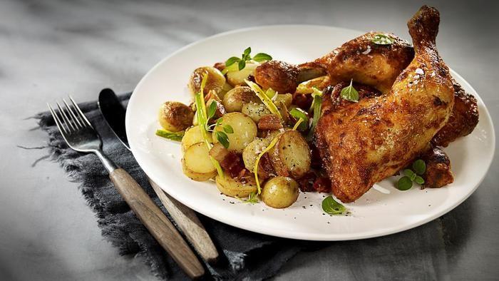 Grillede kyllinglår med lun potetsalat - Prior
