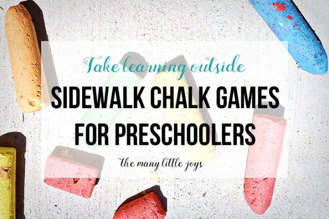 Take your learning outside and try these fun sidewalk chalk games to play outside with kids.