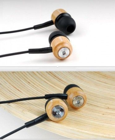 Wooden earplugs / in-ear headphone maple wood
