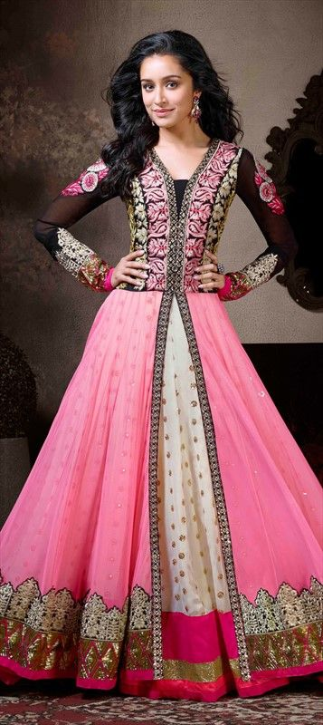 411422: Pink and Majenta, White and Off White color family semi-stiched Bollywood Salwar Kameez.