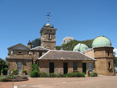 Sydney Observatory is located on a hill now known as Observatory Hill at The Rocks beside the southern end of the Harbour Bridge. The site evolved from a fort built on 'Windmill Hill' in the early 19th century to an astronomical observatory during the 19thC. Now a working museum where evening visitors can observe the stars and planets through a modern 40 cm Schmidt-Cassegrain telescope and an historic 29 cm refractor telescope built in 1874, the oldest telescope in Australia in regular use.