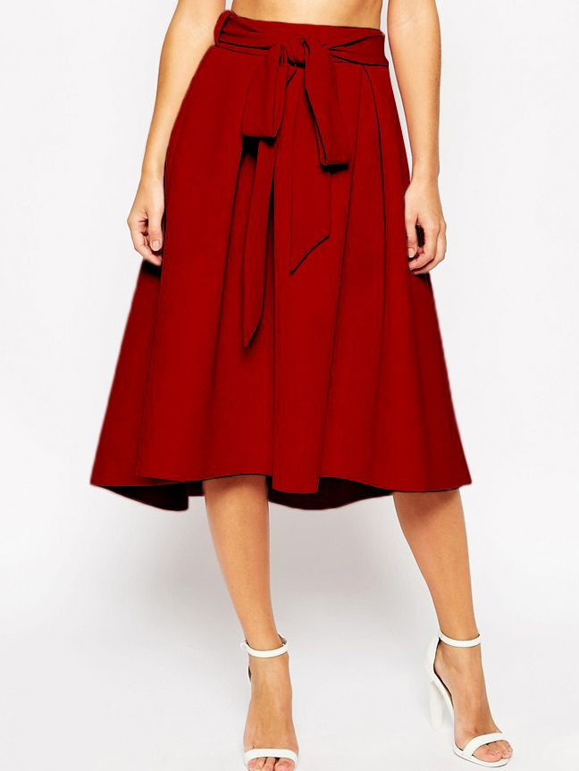 Shop Red Tie-waist Flare Midi Skirt online. SheIn offers Red Tie-waist Flare Midi Skirt & more to fit your fashionable needs.