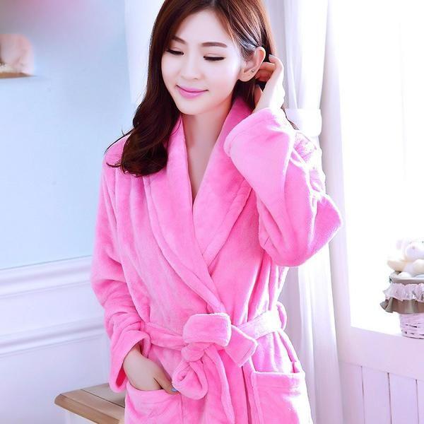 21a12b9fdcce Robes Long Kimono Women Bath Robe Flannel Winter Flower Printed Elegant  Soft Warm Kawaii Sleepwear Womens