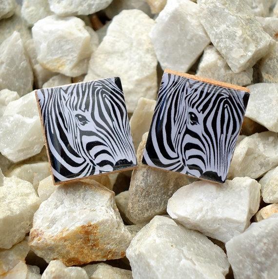 Zebra Scrabble Tile Cufflinks  All Proceeds to Wildlife Warriors.