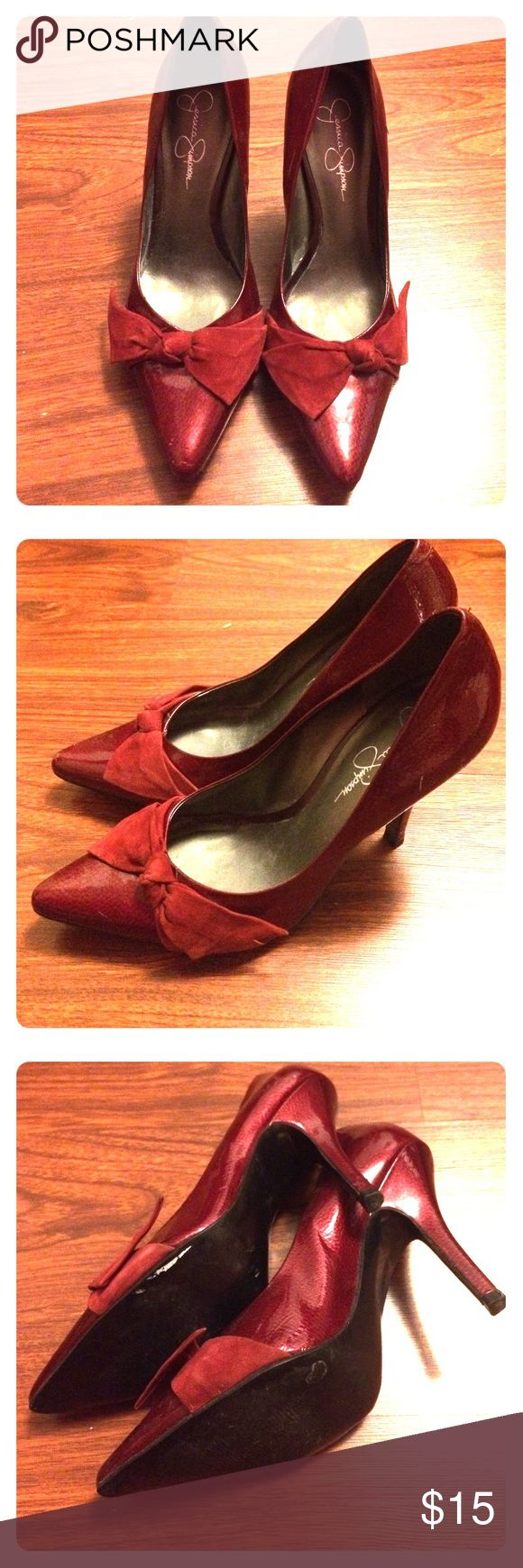Jessica Simpson Red Heels size 8b Gently used Jessica Simpson's red heels with bow tie. Heel height is 4 inches. Jessica Simpson Shoes Heels