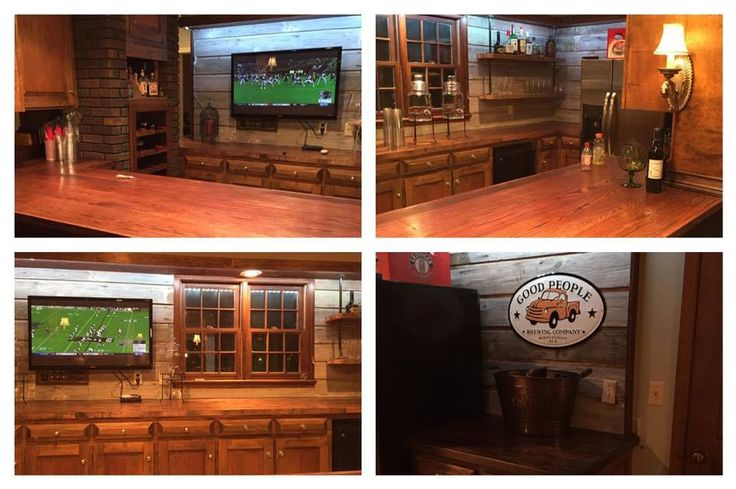 Customer Jeremy Smith used salvaged wood in the shelving and backsplash area of this gorgeous bar - Southern Accents Architectural Antiques
