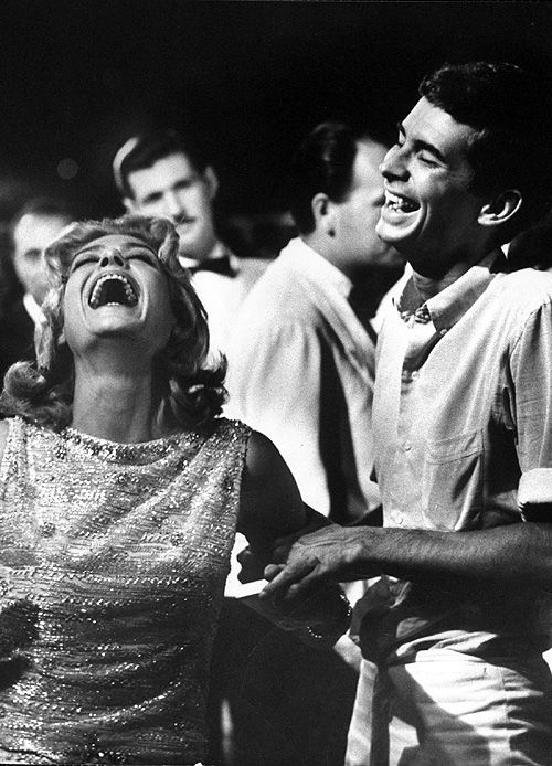 Melina Mercouri and Anthony Perkins on the set of Phaedra, 1961.