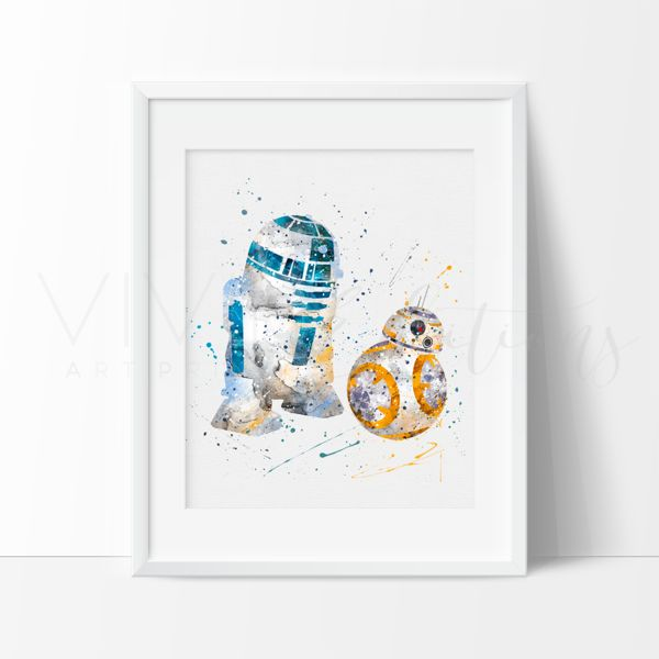 R2D2 & BB8, Star Wars The Force Awakens Nursery Wall Art Print Decor. This art illustration is a composition of digital watercolor images and silhouettes in a minimalist style.