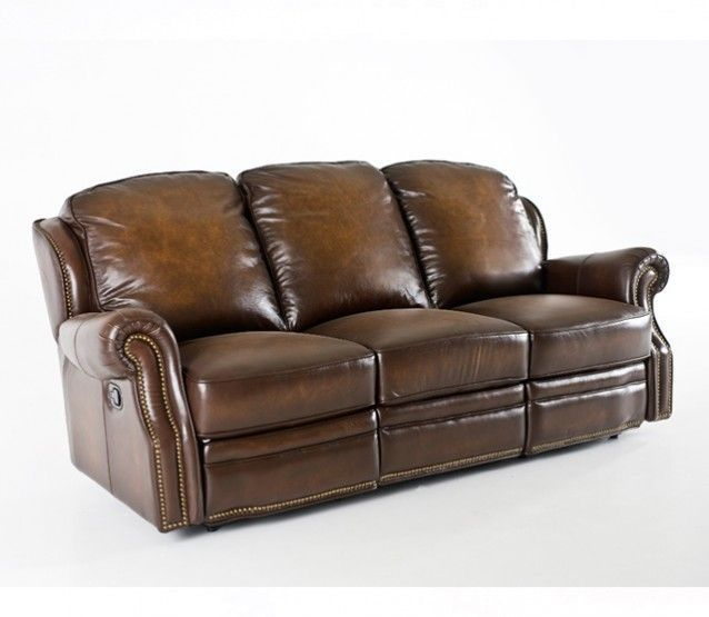 TOBACCO LEATHER RECLINING SOFA #RecliningSofa