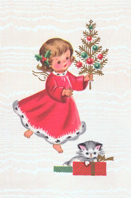 kitten in a box!Vintage Christmas Cards, Little Girls, Angels Kittens, Vintagee Chtistmas Cards, Angels Cards, Vintage Angels, Christmas Morning, 1950S Christmas, Vintage Christmas Angels