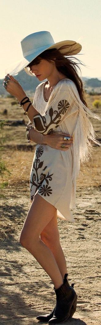 Embroidery embellished tunic top with modern hippie hat for an instant boho chic allure. For the BEST Bohemian fashion ideas FOLLOW https://www.pinterest.com/happygolicky/the-best-boho-chic-fashion-bohemian-jewelry-gypsy-/ now