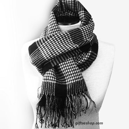 Versatile long scarf for both man and woman, unisex scarf. Fashion black and white houndstooth men scarf . This is an extremely soft and sm...