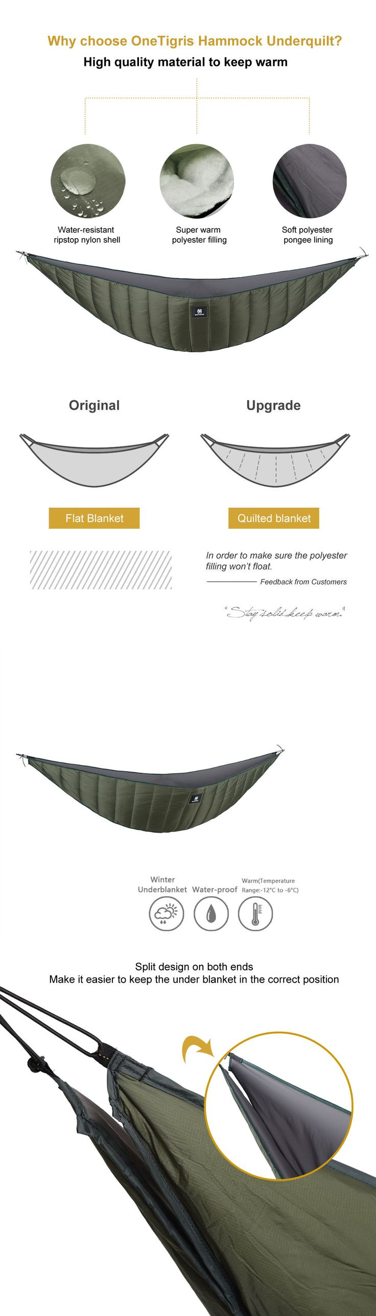 Hammocks 159030: Onetigris Hammock Underquilt Lightweight Packable Full Length Under Blanket -> BUY IT NOW ONLY: $65.5 on eBay!