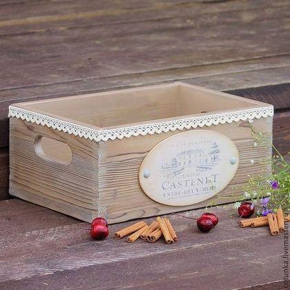 """Корзины, коробы ручной работы. Ярмарка Мастеров - ручная работа. Купить Короб для вина """"Castenet """" декупаж (ящик для хранения, дерево ). Handmade."""
