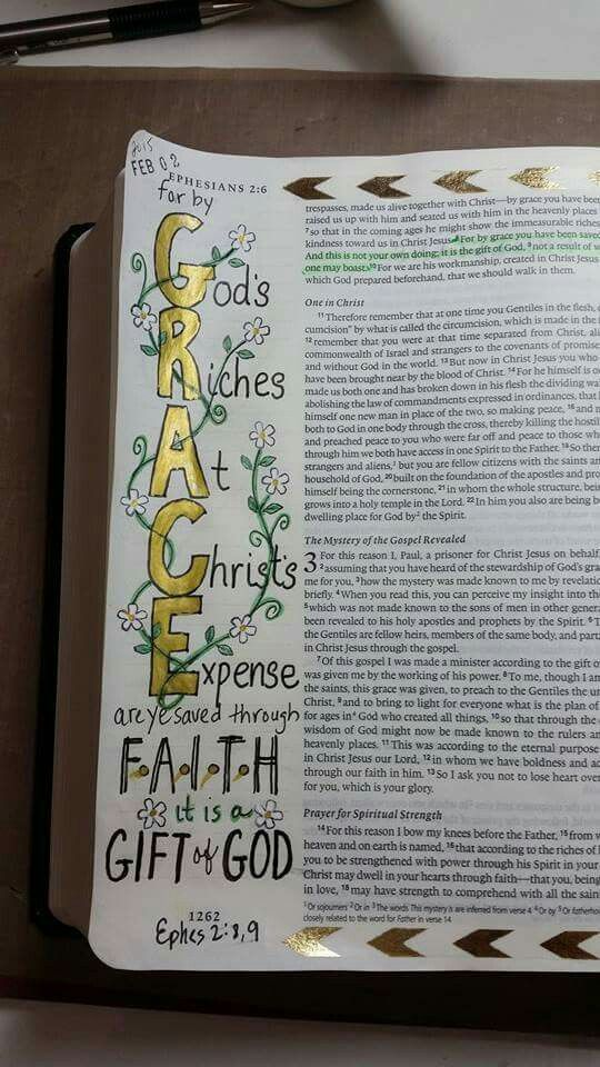 Ephesians 2:8-9 // found on Bible Art Journaling board of Cindy Byrne