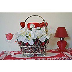 Valentine Day Decor, Valentine Basket, Floral Arrangement Table Decoration, LED Candle, Purity, Ready to Ship!