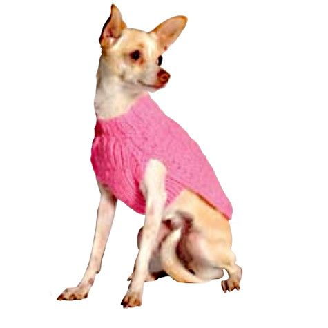 Chilly Dog Classic Cable Knit Dog Sweater - Pink
