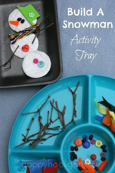 """Build A Snowman"" Activity Tray - #sensory #finemotor"