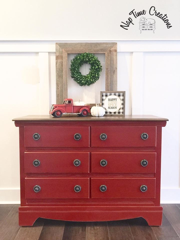 Dresser Distressed In Brick Red Milk Paint Red Painted Furniture Red Dresser Makeover Red Furniture