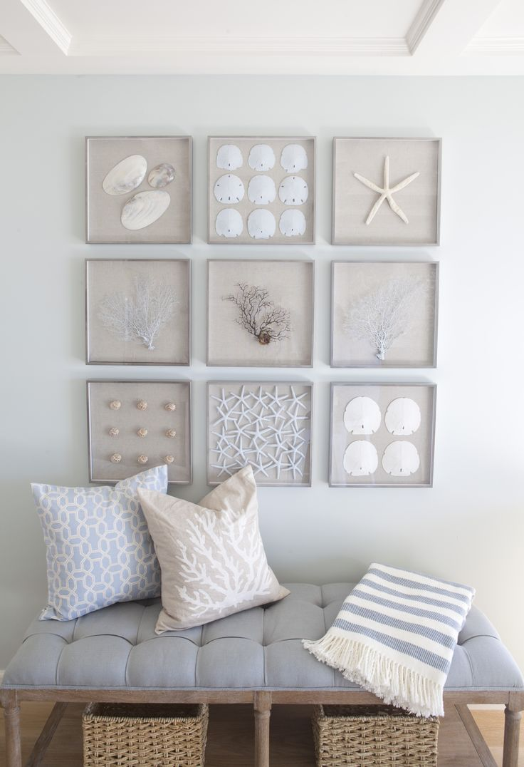 Framed shells on linen.  Wall paint color is Designer Grey 8581 by Frazee