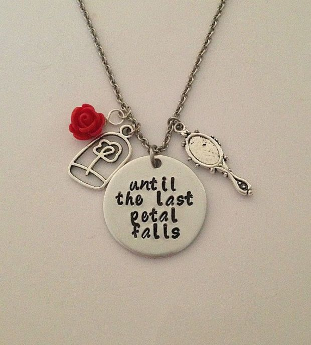 "Disney inspired Beauty and the Beast necklace ""until the last petal falls"" Belle hand stamped rose charms Love the saying"