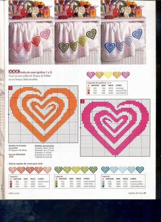Ponto cruz toalha de banho corações coloridos romântico
