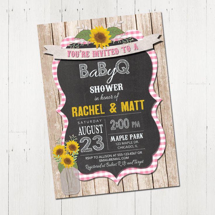 bbq baby shower invitation mason jar girl baby shower coed couples