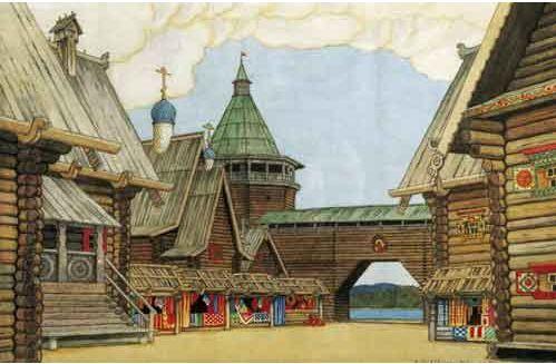 "Ivan Bilibin, Sketch for the opera ""Legend of the Invisible City of Kitezh and Maiden Fevronia"" by Nikolai Rimsky-Korsakov"
