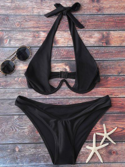 SHARE & Get it FREE | Halter High Cut Bikini Set - BlackFor Fashion Lovers only:80,000+ Items • New Arrivals Daily Join Zaful: Get YOUR $50 NOW!