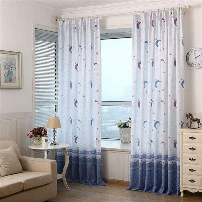Moon Star Pattern Bedroom Living Room Window Curtain Home Decor