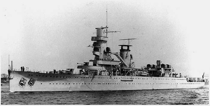 Dutch 5.9 in light cruiser De Ruyter, flagship of the badly outnumbered American British Dutch Australian (ABDA) naval forces during the doomed campaign to save Java early in the war against Japan. She was torpedoed and sunk carrying the flag of Admiral Karel Doorman at the Battle of Java Sea in February 1942.