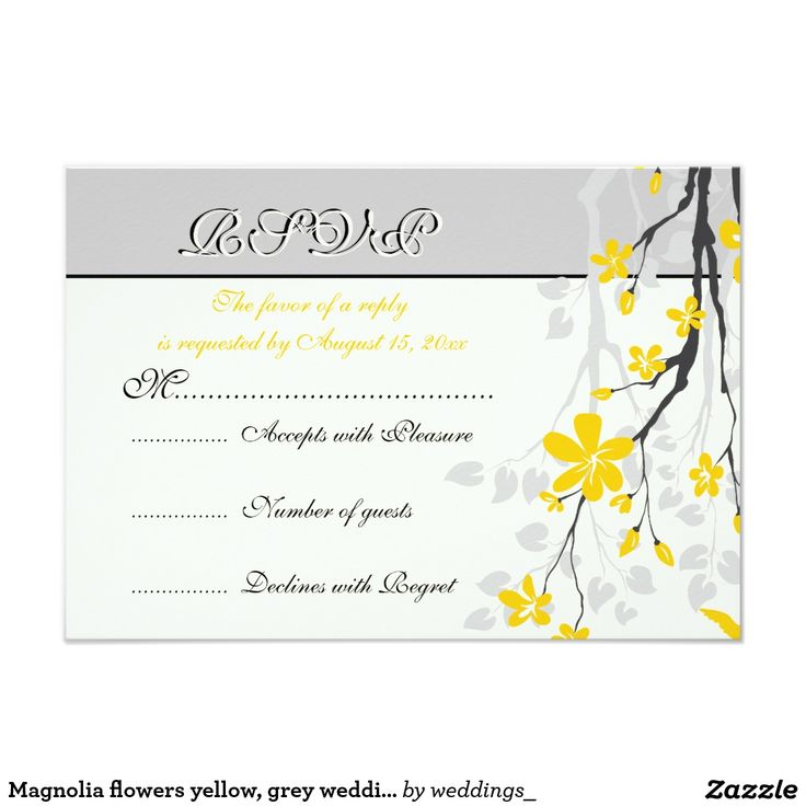 Magnolia flowers yellow, grey wedding RSVP card