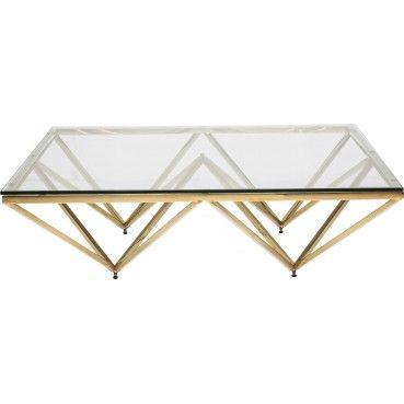 Une #table basse en #verre très design et contemporaine grâce à ses pieds rectilignes qui se rejoignent au centre du plateau pour créer des formes géométriques très tendance.  Table basse #Design Network dorée 105x105 cm Kare Design