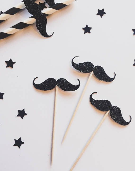 6 Moustache Glitter Cupcake toppers