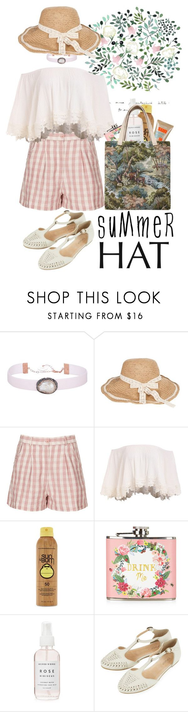 """""""Summer hat"""" by beachan ❤ liked on Polyvore featuring Soru Jewellery, Topshop, Forever 21, Accessorize, Bless and summerhat"""