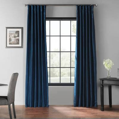Exclusive Fabrics & Furnishings Captain's Blue Blackout Vintage Textured Faux Dupioni Silk Curtain – 50 in. W x 84 in. L