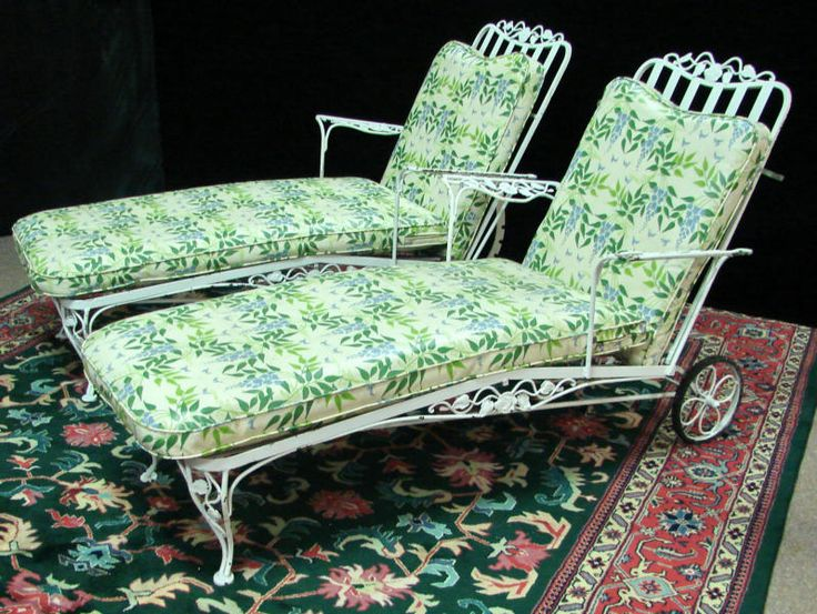 chaises woodard chantilly rose sold vintage metaliron patio setschaise