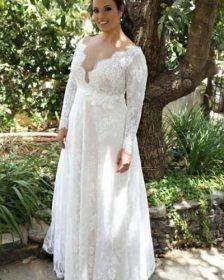 Volle Spitze Brautkleider Plus Size mit Empire High Waist