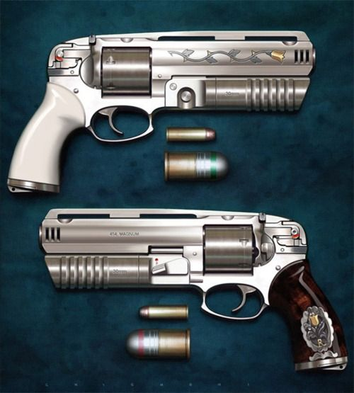 .454 Casull with 30mm Grenade launcher Now that's a pistol