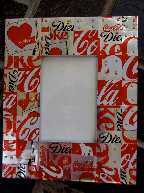 Recycled/Homeade Picture Frame $45.00 Etsy A way to recycle those soda cans that you have smashed down! Coca-cola is fantastic, and repurposing old cans is every better.